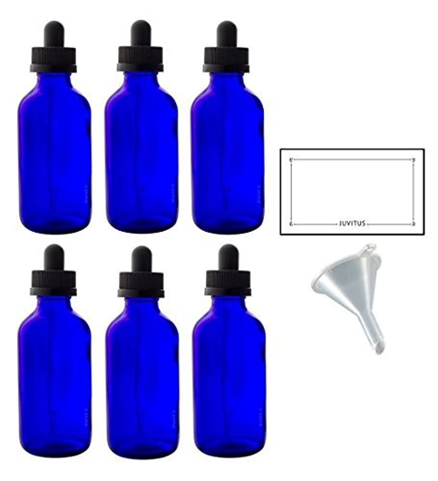 4 oz Cobalt Blue Glass Boston Round Dropper Bottle (6 pack) + Funnel and Labels for essential oils, aromatherapy...