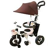 YUMEIGE 子供用三輪車 キッズ三輪車チタン空輪1-6歳の誕生日プレゼント三輪車キッズベビーカー幼児トライク付きオーニング積載量25kg(カラー:ダークコーヒー色) 得ることができます