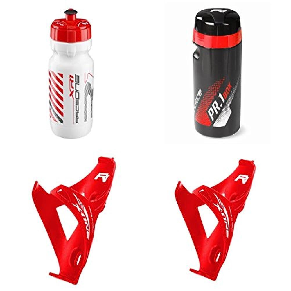 ズームダメージめったにRaceone.it - KITレーストリオX1(4 PCS):2ボトルケージX1 +バイクウォーターボトルXR1 +ツールボックスPr.1 - サイクリング/MTB/グラベル。イタリア製100%