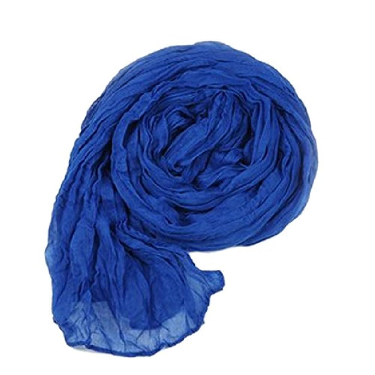 ハイジャック海藻枢機卿YiyiLai 軽やか シンプル リネン ストール 大判 薄手 マフラー 無地 綿麻製スカーフ レディース ショール ブルー