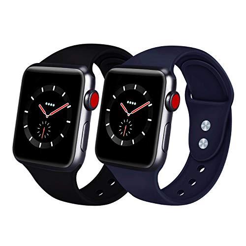 AIGENIU コンパチブル Apple Watch バンド、2個留め具のシリコン柔らかいスポーツ アップルウォッチ バンド、S/M M/Lを選択できますApple Watch Series 4/3/2/1に対応 (42mm/44mm M/L, ブラック ミッドナイトブルー)