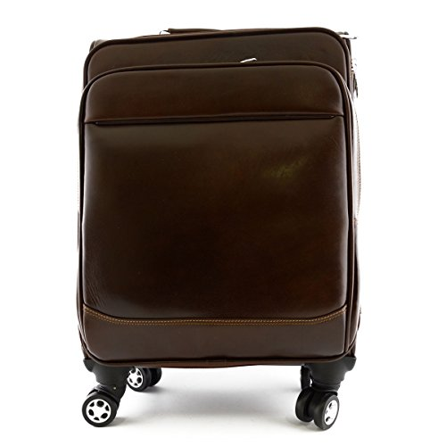 Made In Italy Genuine Leather Trolley With Front Pocket Color Dark Brown - Travel Bag