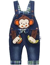 (キッズクール)Kidscool ボーイズ 猴子の可愛い顔のオーバーオール 子供 キッズ サロペット 女の子 男の子 デニムパンツ オーバーオール ジーンズ