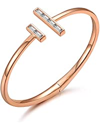 Italina Fashion Cubic Zirconia Adjustable Bangle Bracelet Jewelry Gifts for Women Ladies Rhodium/Gold/Rosegold Plated Wedding Birthday