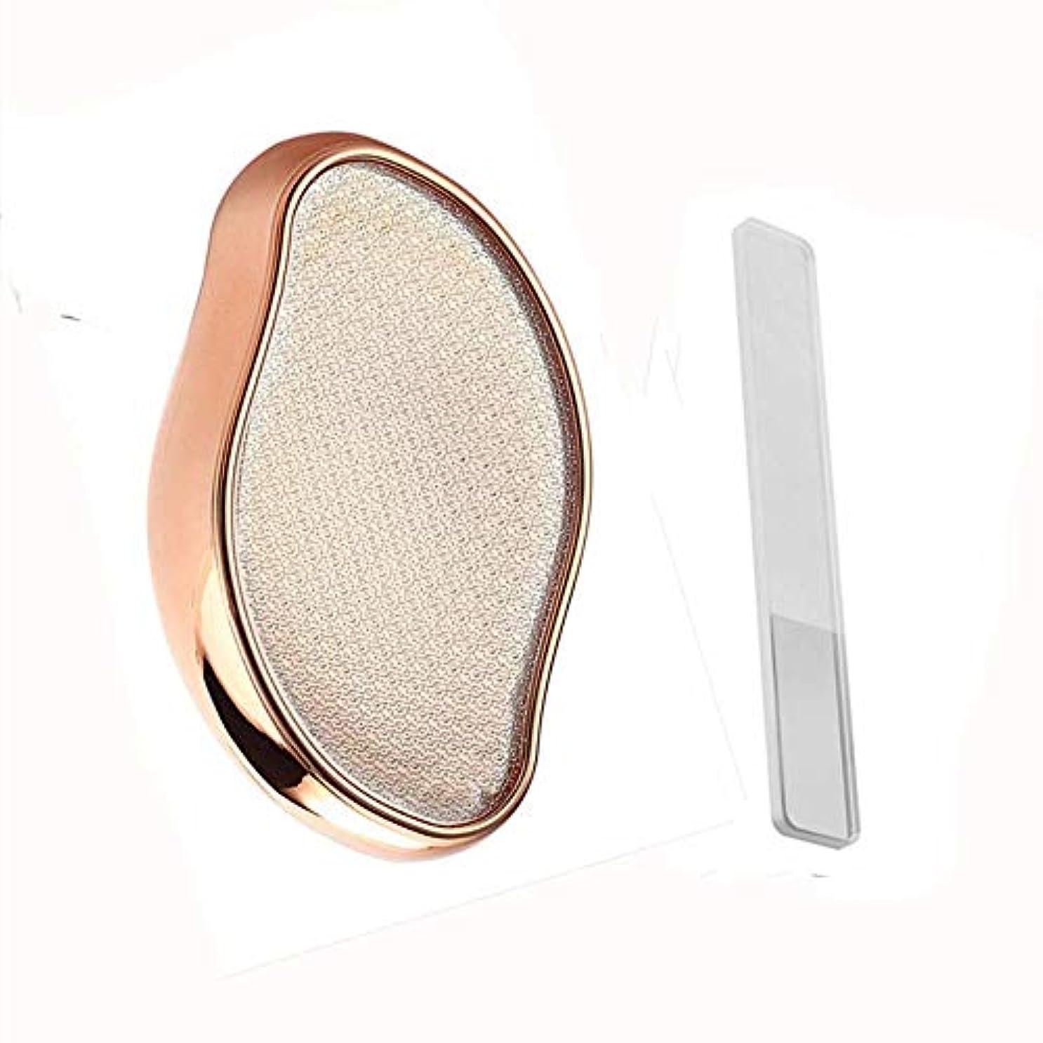デモンストレーションウェーハブランドかかとやすり ガラス製 かかと磨き 角質取り フット用品 フットケア かかと 角質やすり 角質除去 魚の目削り 爪やすり付き 2点セット