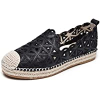 Women's Casual Shoes New 2019 Sandals Leather Fashion Hole Shoes Low Walking Shoes/Driving Shoes Black Beige,Black,39