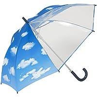 傘と日傘専門店リーベン 長傘 ブルー×透明 55cm×8本骨 前が見える!キッズジャンプ傘 青空 LIEBEN-0380