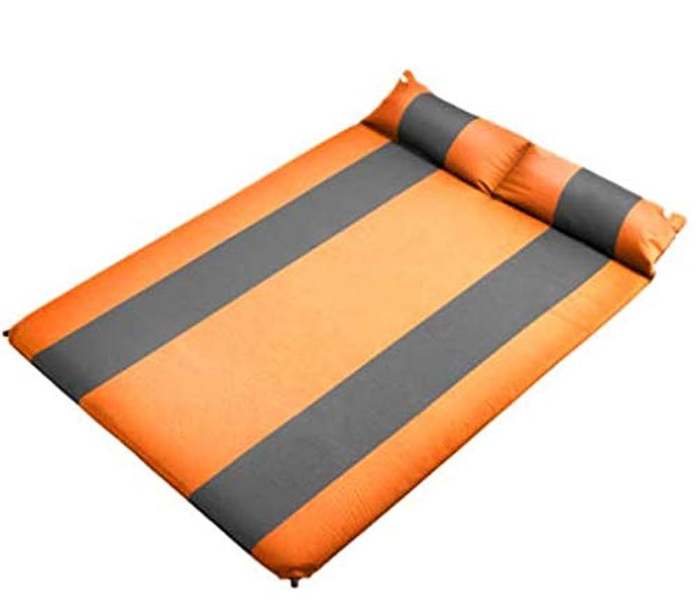 ラブ基礎落ち込んでいる自動インフレータブルクッションダブル屋外睡眠マット肥厚拡大テントマットフロアマットキャンプマット (Color : Orange)