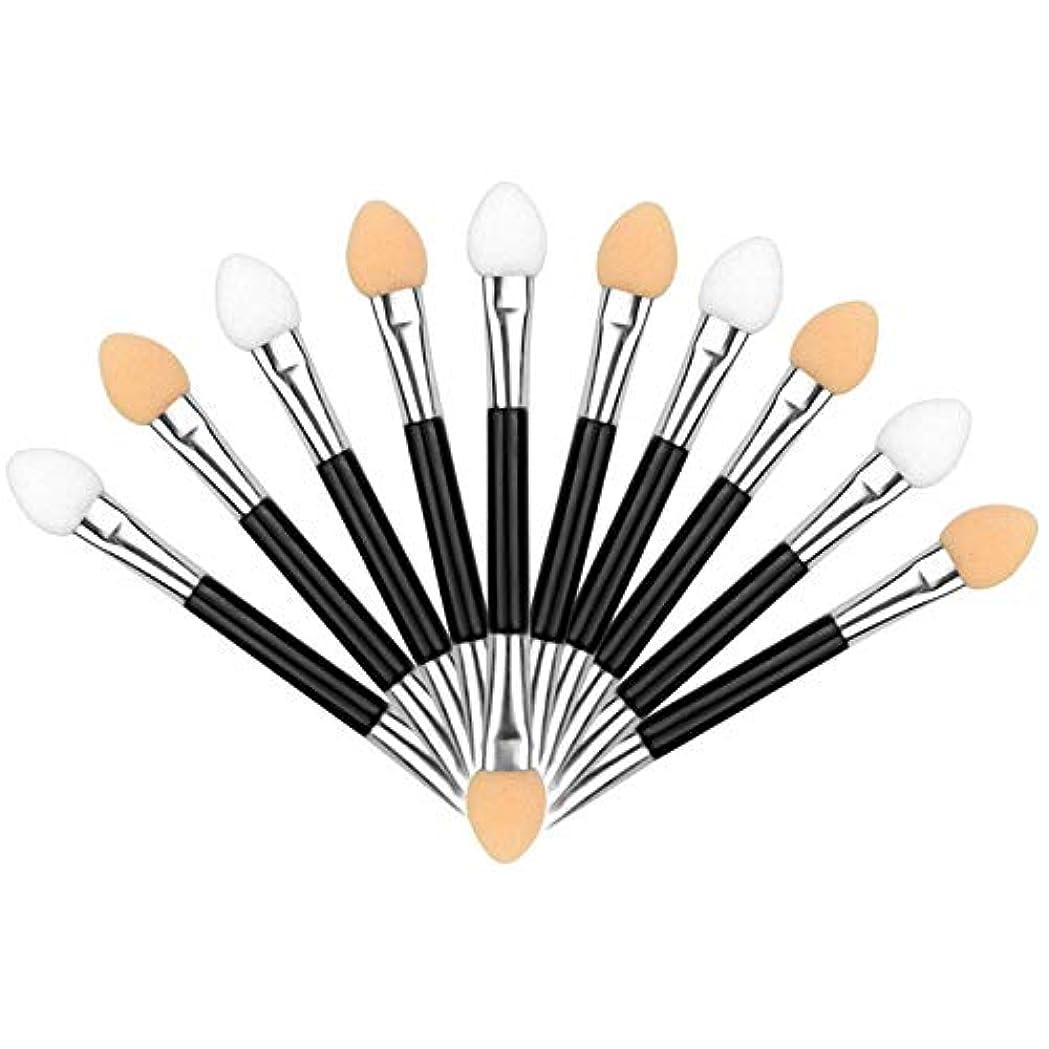 六救援明日アイシャドウブラシ 10本ダブル 化粧ツール アイシャドウスポンジ シリコンチップ 人気 化粧筆 ダブル メイクブラシ 上質なメイクブラシで魅力的な目元を