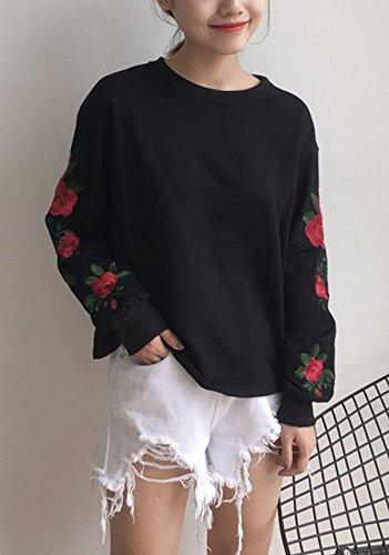 (ステキ ファーム) SUTEKI FARM レディース 薔薇 刺繍 Tシャツ 長袖 ロンT 原宿系 花柄 (ブラック)