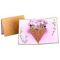 Paper Spiritz マグノリアブーケ グリーティングカード 立体ポップアップカード バレンタインカード 誕生日カード 感謝状 感謝祭 クリスマス 手作りのメッセージカード 母の日 結婚祝い 封筒付き