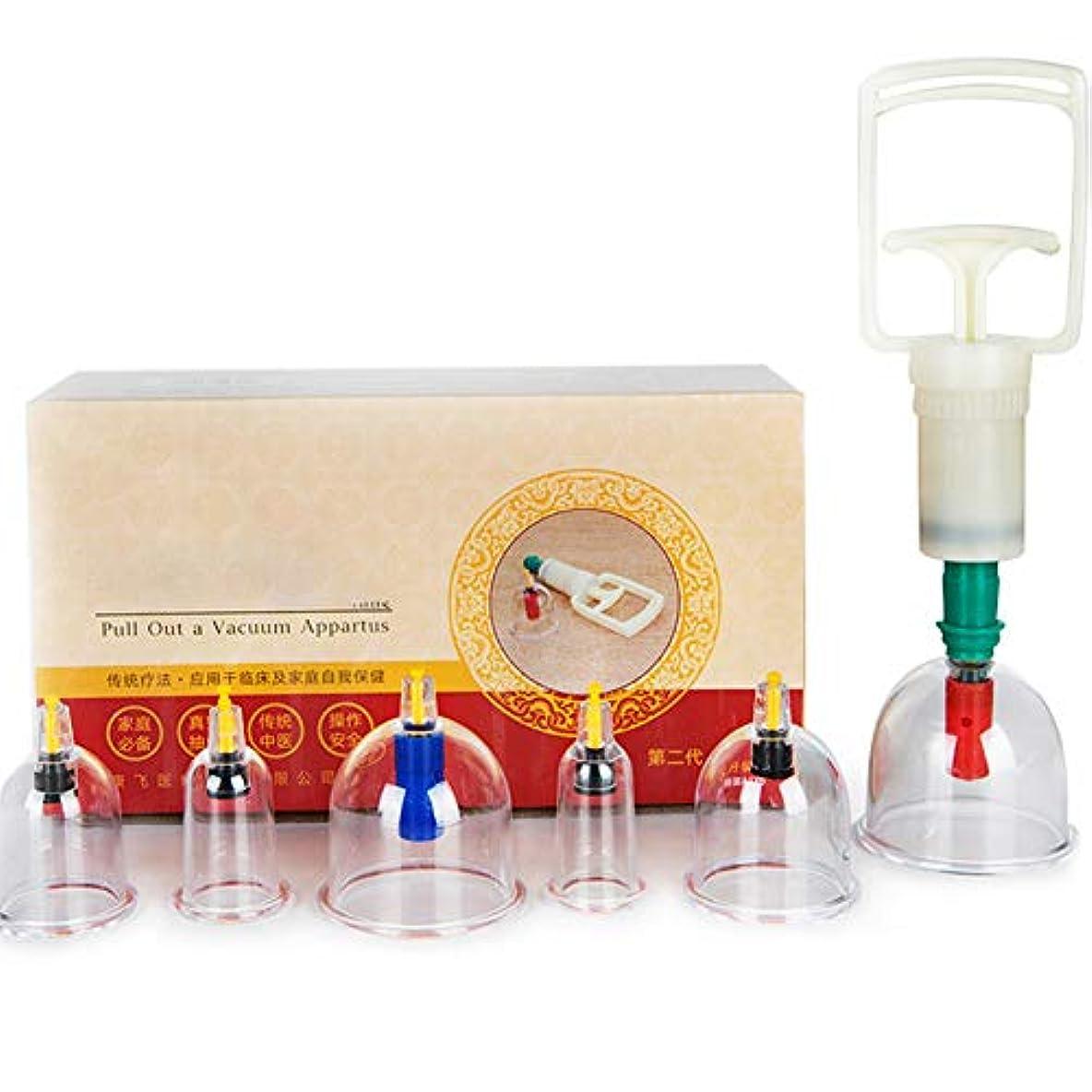 ヘルシー克服する表示6カップマッサージカッピングセット、真空吸引生体磁気磁気ポンプ、在宅医療、真空磁気ポンプ付き、ボディマッサージの痛みを軽減するため