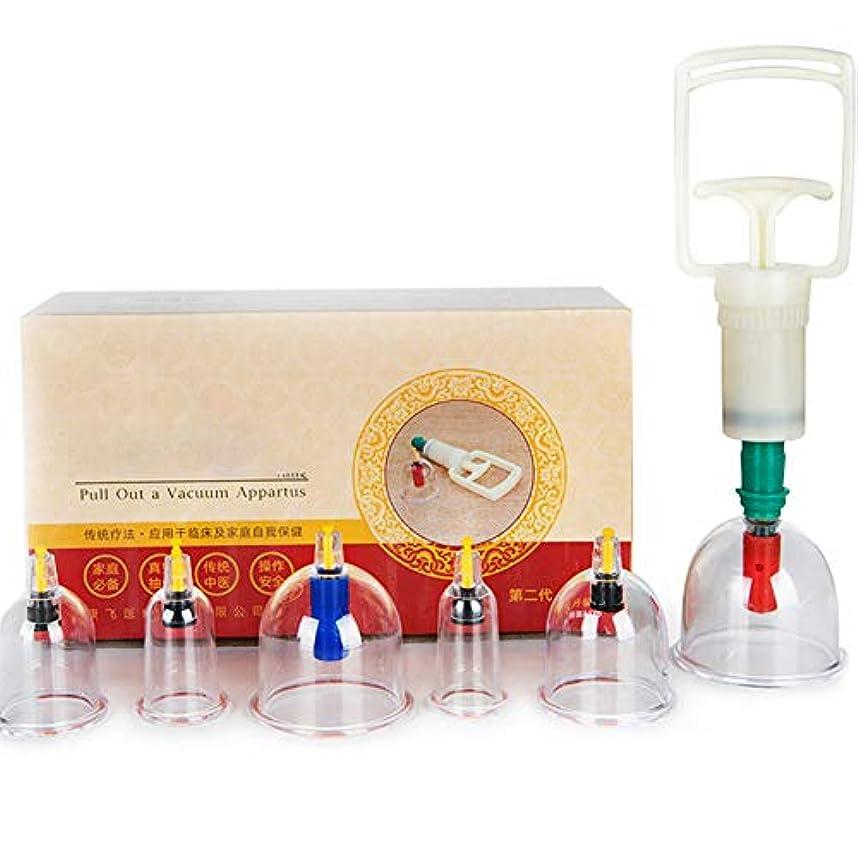 流出スワップ心配6カップマッサージカッピングセット、真空吸引生体磁気磁気ポンプ、在宅医療、真空磁気ポンプ付き、ボディマッサージの痛みを軽減するため