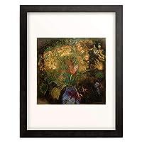 オディロン・ルドン Odilon Redon 「Fleurs oranges dans un vase bleu sur fond noir」 額装アート作品