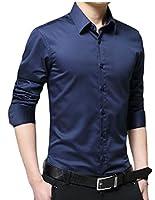 chenshiba-JP メンズスリムフィット固体カジュアルボタンダウンシャツトップスドレスシャツ Dark Blue S