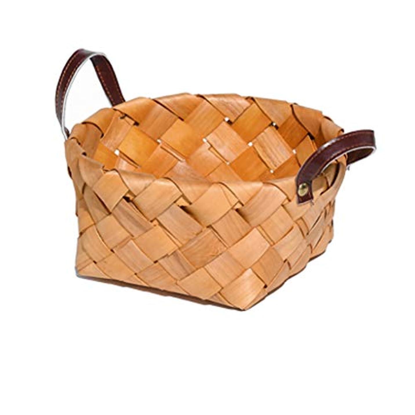 生産性蜜多様なSMMRB 手作りの木材チップ製織貯蔵バスケットの果物のピクニックバスケット台所の破片の収納バスケット革 (サイズ さいず : S 17×9CM)