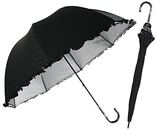 日光を遮断! 晴雨兼用 日傘 かわいいドーム型 生地裏シルバーコーティング フリル付 UVカット 紫外線遮蔽率99% UPF50+ 60cm 手開き傘 (黒)