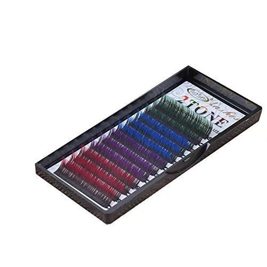 まつげエクステ 太さ0.15mm(カール色長さ指定) グラデーションマツエク 色ごとに3列 12列タイプ 2ケース入り (0.15 C 13mm、グリーン?ブルー?バイオレット?レッド)
