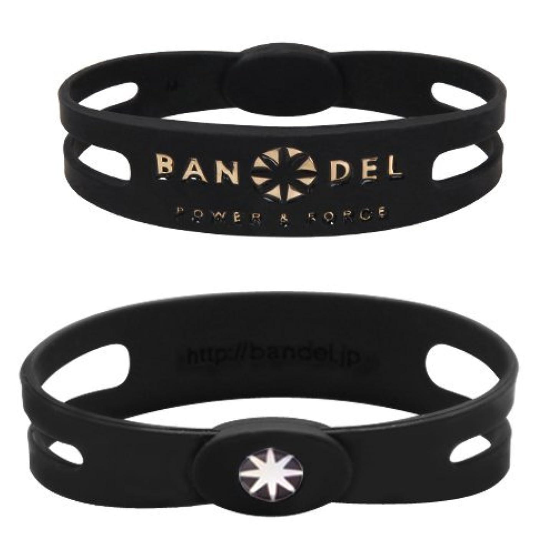 り悪行深めるバンデル(BANDEL) メタルプレート スポーツギア シリコンブレスレット(ブラック×ゴールド) Lサイズ