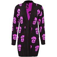 21FASHION Womens Skull Print Knitted Halloween Cardigan Ladies Long Sleeve Jumper Top Black with Magenta Skull Medium/Large
