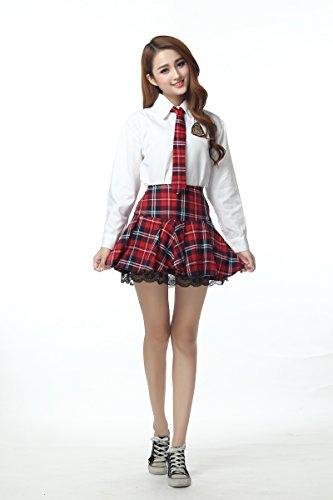 fashion 長袖 ブラウス かわいい 赤色チェック柄 スカート AKB 風 制服 コスプレ 衣装 Lサイズ (身長159~167cm)