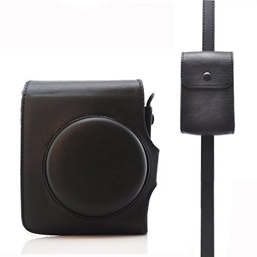 ハローヘリオ 富士フィルムInstax Mini 90 Neo対応 レトロクラシックビンテージレザータッチコンパクトケース ケースに入れたまま撮影可能(ブラックケース)
