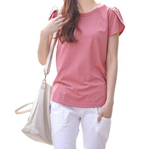 ELPIS レディース ファッション 半袖 Tシャツ 春 夏 薄手 コットン ラウンドネック 花びらスリーブ 無地 シンプル 各5色 S M L XL 2XL 3XL 4XL サイズ(ピンク,L)