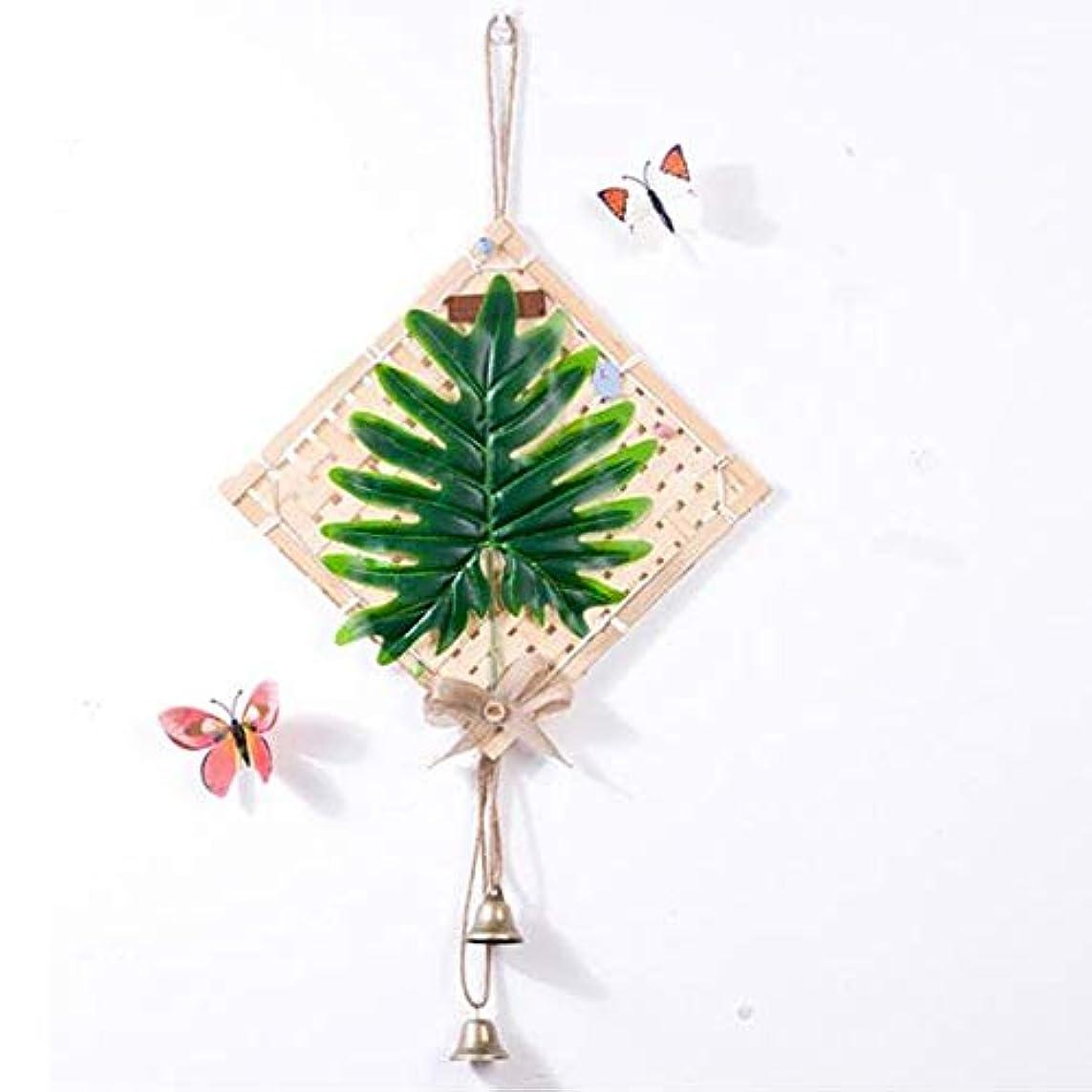 掃く小さな採用するJielongtongxun 風チャイム、クリエイティブ?竹ホームデコレーション風チャイム、パープル、幅38.5CM,絶妙な飾り (Color : Green-B)