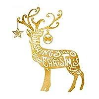 クリスマスウォールペーパー 壁紙シール トナカイクリスマス新年ストアウィンドウPVCウォールステッカークリスマスの装飾 部屋 店舗装飾 壁紙 (色 : Gold left, サイズ : 60x66cm)