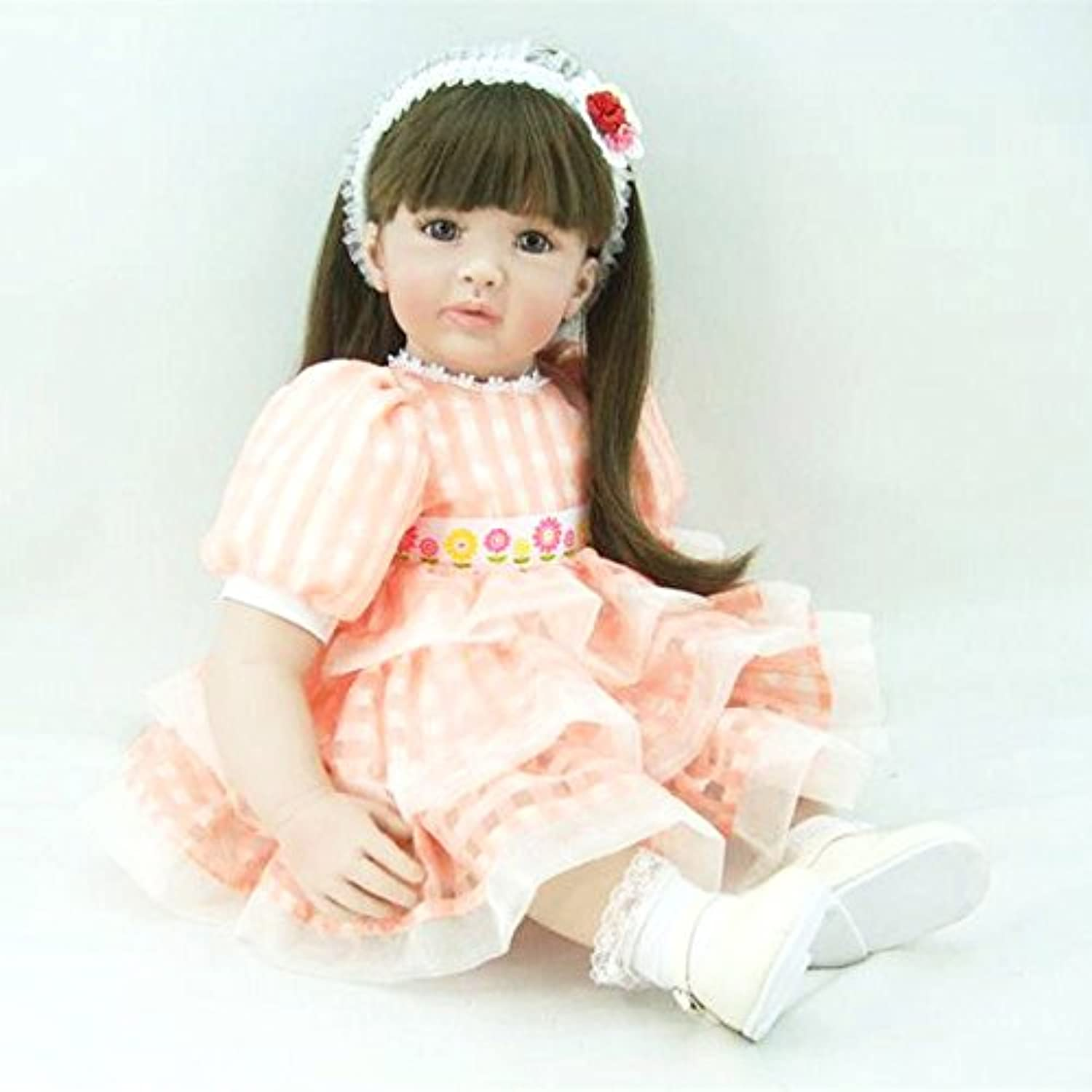 PursueベビーソフトビニールLife Like Poseableプリンセス人形with Long Hair、24インチリアルなWeighted Toddler Doll With Matching Outfits