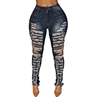 4133d15a0e36 Women's Fashion Low Waist Ripped Hole Denim Jean Skinny Jeans Blue Jeans  with Holes for Women Sexy Big Hip Denim Trousers Denim Pant…