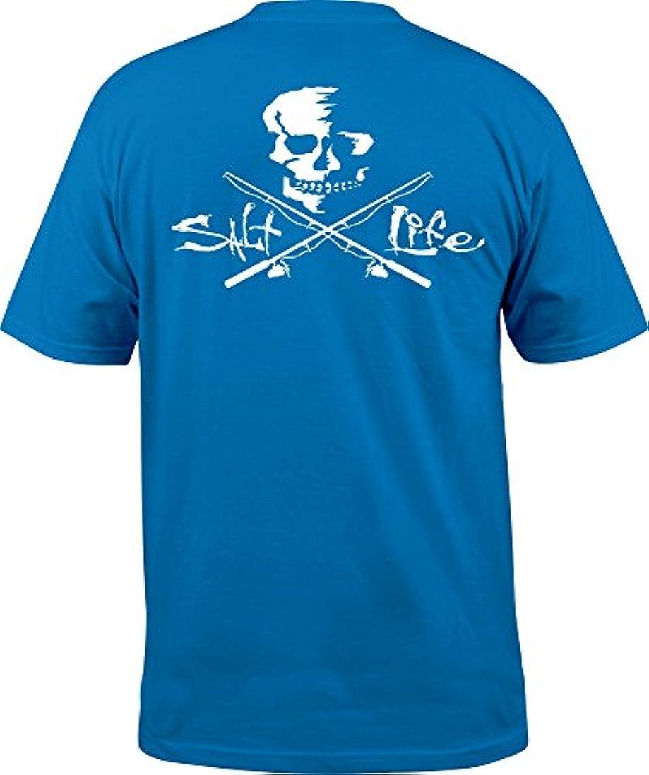 汚す親密な飢えた[ソルトライフ] メンズ シャツ Salt Life Men's Skull and Poles T-Shirt [並行輸入品]