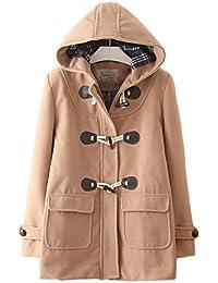 (エスライフ)S-Lifeeling レディース コート 冬 ダッフルコート オーバー 保温 防寒 学生 通勤 フード付き かわいい 無地 ウールコート