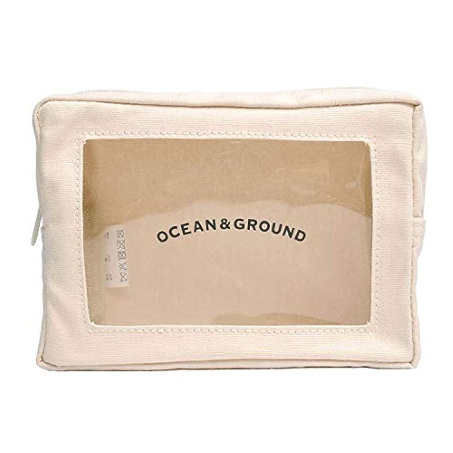 物理的に寛大さ続ける(ocean&ground) オーシャンアンドグラウンド ポーチ おしゃれ 片面 クリア 窓付き ポーチ 1825901 小物入れ かわいい コルク 帆布 ボックス スクエア