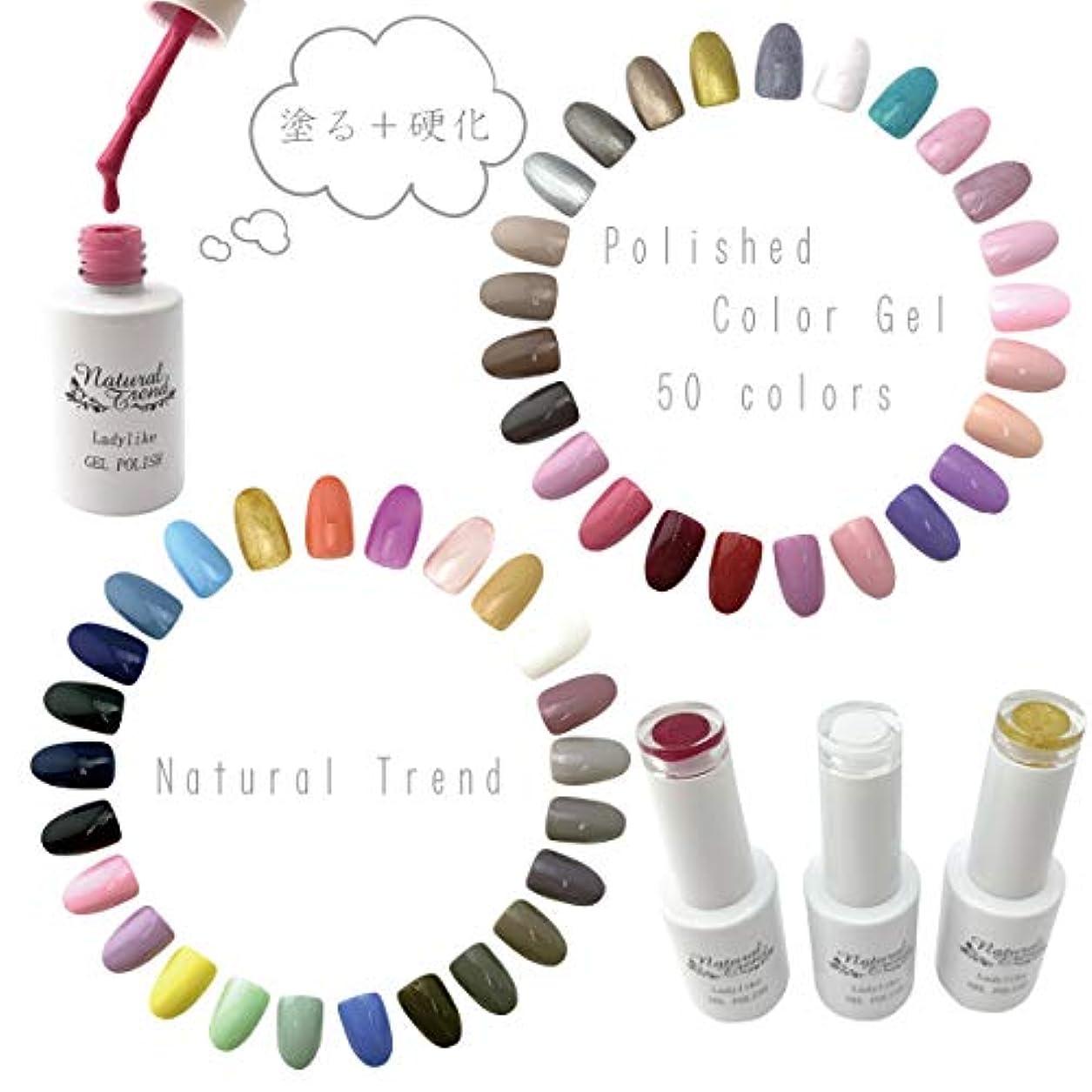 NaturalTrend ジェルネイル カラー 50色 8ml UV?LED ポリッシュタイプ カラージェル (02, nudepink)