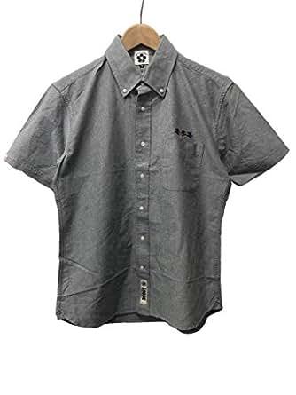 【オリジナル通販サイト限定】 悟空本舗 刺繍入り半袖オックスフォードボタンダウンシャツ GSH-8801 (グレー, M)