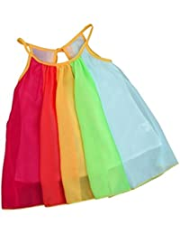 Yumiki 子供服 女の子 ワンピース ドレス シフォン 彩色 カラフル 虹色 独特 可愛い 肌触り良い 柔らかい 夏 肩紐 お出かけ 普段着 ナチュラル