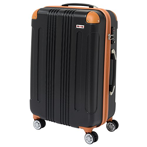 (ムーク)M∞K 超軽量スーツケース TSAロック付き 機内持ち込みSサイズ~Lサイズ (Mサイズ, ブラック)