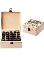 エッセンシャルオイル収納ボックス 大容量 和風 レトロ 木製 精油収納 携帯便利 オイルボックス 飾り物 25本用