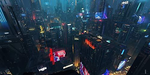 AniMax | サイバーパンク 2077| ストリートシティキャラクター キャンパスに印刷された乗り物 フレームとストレッチ素材 ゲームホーム装飾 リビングルームベッドルーム装飾 – 3 シリーズ25 22x32 in ホワイト