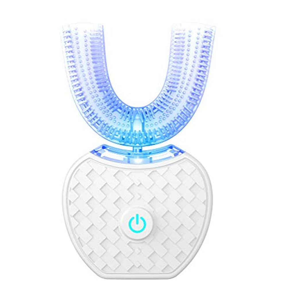 アップグレード 口腔洗浄器 デンタルケア 電動歯ブラシ ナノブルーレイ美歯 ワイヤレス充電 虫歯予防 U型 360°全方位 ホワイト