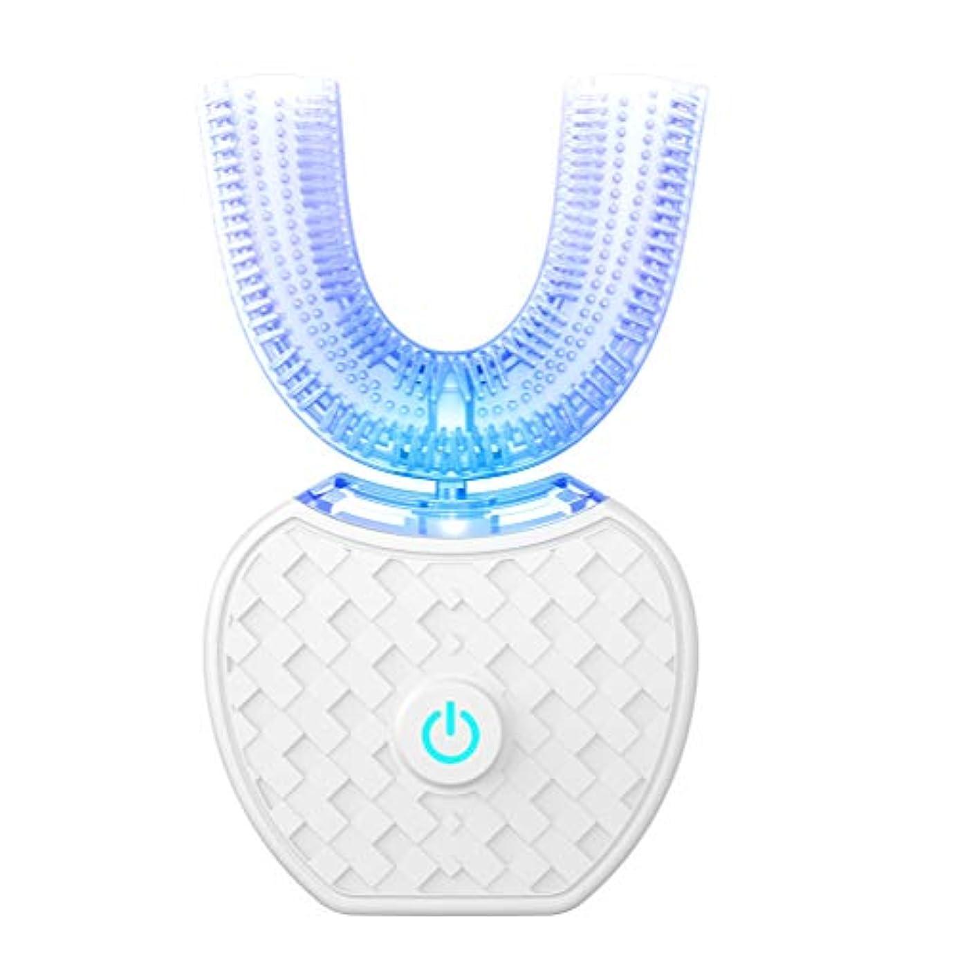 モック割れ目脳GideaTech アップグレード 電動歯ブラシ 口腔洗浄器 音波振動歯ブラシ デンタルケア 美歯 IPX7防水 ワイヤレス充電 虫歯予防 U型 360°ホワイト