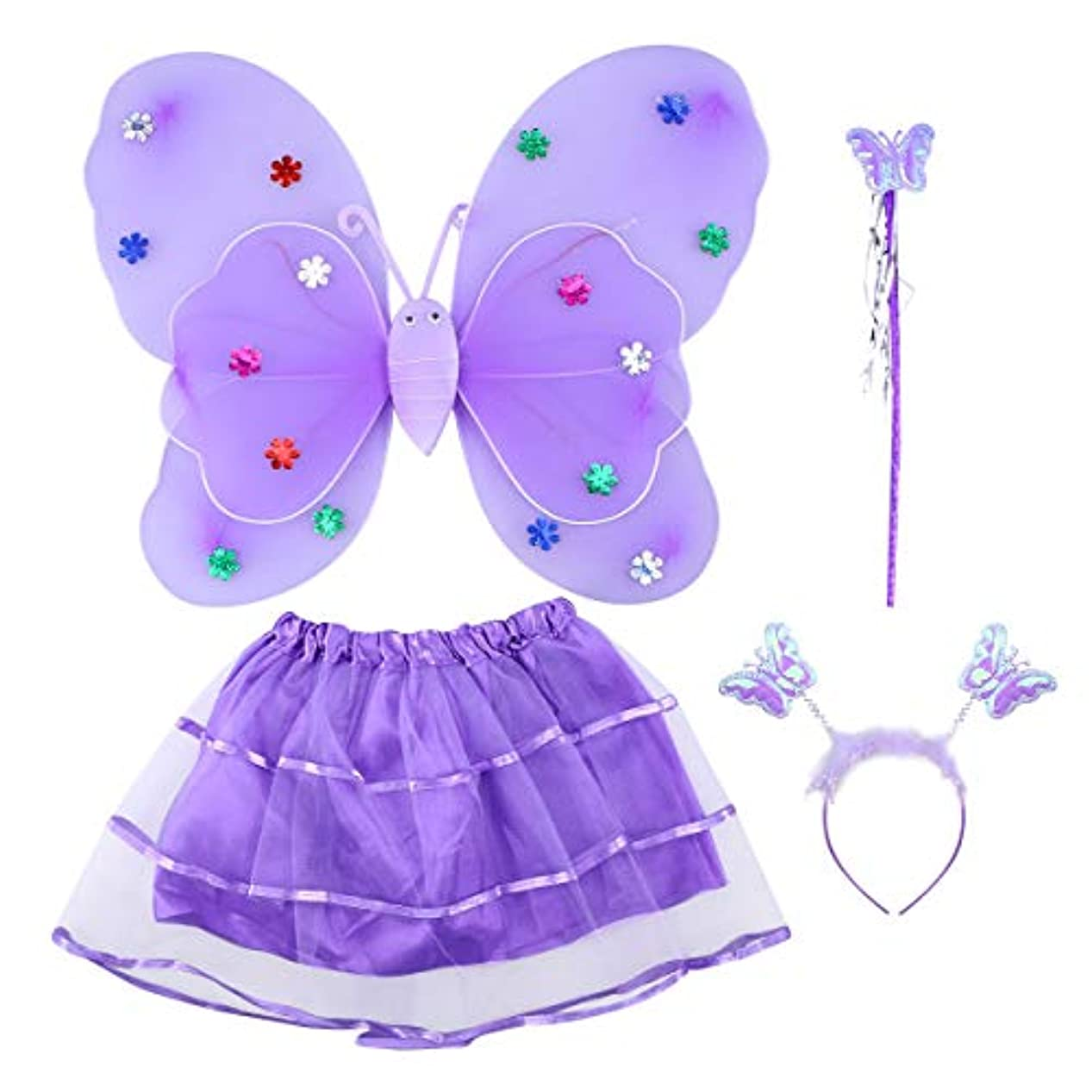 メロドラマホットキャリッジBESTOYARD 4本の女の子のチュチュスカート蝶の羽の杖LEDライトフェアリーコスチュームセット二重層蝶の羽の杖ヘッドバンドパーティーコスチュームセット(パープル)