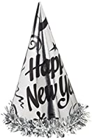 Creative Converting 12Count Happy New Year Foil Hats withフリンジ、シルバー