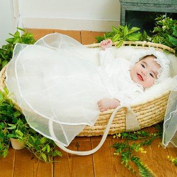 【2017新作】ピュアホワイト セレモニードレス 新生児 帽子付き 3点セット P5334
