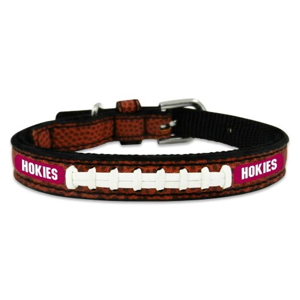 プレート謎めいた静かにVirginia Tech Hokies Classic Leather Toy Football Collar