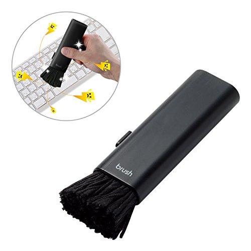 エレコム 除電ブラシ ほこりとり すきま用ブラシ付き コンパクト収納タイプ ブラック KBR-AM014AS