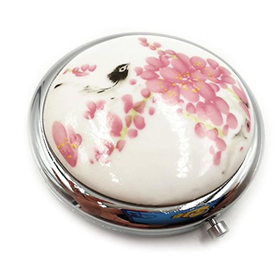 調停する赤外線アトラス小さな鏡のセラミック青と白の磁器は、手鏡のハンドメイドの土産物を拡大鏡でポータブルの洗面化粧鏡を両面バッグポケット用かわいい鏡中国スタイルの小さなもの