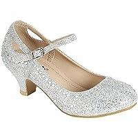 Link SF Riley-79K Girls Youth Pageant Jewel Rhine Stone Mary Jane High Heel Dress Shoes