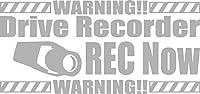 カッティングステッカー DriveRecorder REC Now(ドライブレコーダー録画中) 約80mm×約170mm シルバー 銀